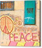 Hippie Graffiti - Peace But Keep Out Acrylic Print