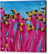 Peace Love And Flamingos Acrylic Print by Patti Schermerhorn