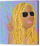 Peace Love And Pink Lipstick Acrylic Print