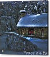 Peace On Earth Holiday Card Moonlight On Stone House.  Acrylic Print