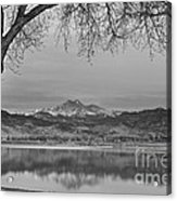 Peaceful Early Morning First Light Longs Peak View Bw Acrylic Print