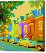 Peaceful Painted Pastel Rowhouses Printemps Plateau Montreal Scene Du Rue Carole Spandau Acrylic Print