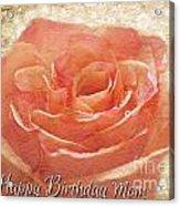Peach Rose Happy Birthday Mom Card Acrylic Print