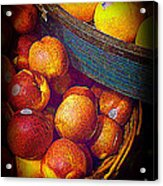 Peaches And Citrus With Blue Wooden Basket Acrylic Print
