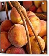 Peaches In Wicker Basket Acrylic Print