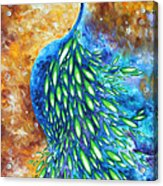 Peacock Abstract Bird Original Painting In Bloom By Madart Acrylic Print