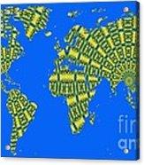 Peacock Feather World Map Acrylic Print
