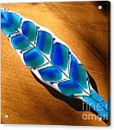 Peacock Fused Glass Leaf Acrylic Print