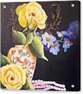 Pearls And Roses Acrylic Print
