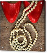 Pearls In Red Shoes Acrylic Print