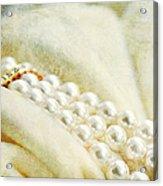 Pearls On White Velvet Acrylic Print
