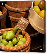 Pears - 15 Cents Per Basket Acrylic Print