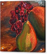 Pears And Grapes In The Lamplight Acrylic Print