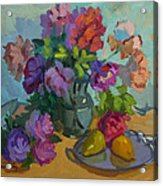 Pears And Roses Acrylic Print