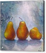 Pears On Blue Original Acrylic Painting Acrylic Print