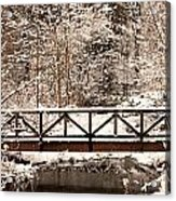 Pedestrian Bridge In The Snow Acrylic Print