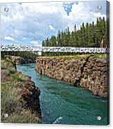 Pedestrian Bridge Over Yukon River In Miles Canyon Near Whitehorse-yk Acrylic Print