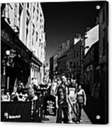 Pedestrians And Drinkers Enjoying A Sunday Afternoon Drink In The Bunch Of Grapes Pub Galway Acrylic Print