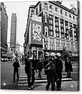 Pedestrians Cross Crosswalk Crossing Of 6th Avenue Broadway And 34th Street At Macys New York Usa Acrylic Print by Joe Fox