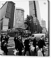 Pedestrians Crossing Crosswalk On 7th Ave And 34th Street Outside Macys New York City Usa Acrylic Print by Joe Fox