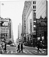 Pedestrians Crossing Crosswalk On West 34th Street And Sixth 6th Avenue At Herald Square New York Acrylic Print