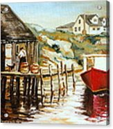 Peggy's Cove Nova Scotia Fishing Village With Red Boat Acrylic Print