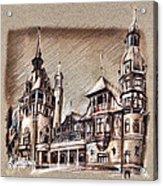 Peles Castle Romania Drawing Acrylic Print