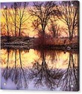 Pella Crossing Sunrise Reflections Hdr Acrylic Print