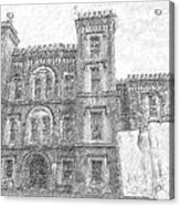 Pencil Drawing Of Old Jail Acrylic Print