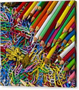 Pencils And Paperclips Acrylic Print