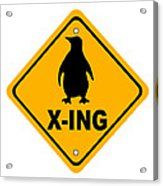 Penguin Crossing Sign Acrylic Print
