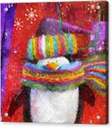 Penguin Happy Holidays Photo Art Acrylic Print