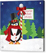Penguin Top Hat At Santa Stop Here Sign Acrylic Print