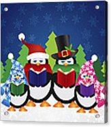 Penguins Carolers With Night Winter Scene Acrylic Print