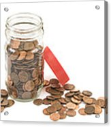 Pennies And Jar On White Background Acrylic Print