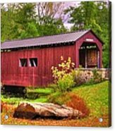Pennsylvania Country Roads - Everhart Covered Bridge At Fort Hunter - Harrisburg Dauphin County Acrylic Print