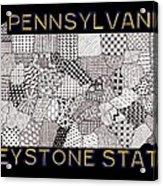 Pennsylvania Map Black Acrylic Print