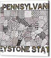 Pennsylvania Map White Acrylic Print