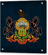 Pennsylvania State Flag Art On Worn Canvas Acrylic Print by Design Turnpike