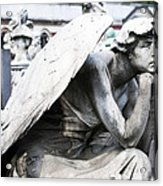Pensive Angel Monumental Cemetery Milan Italy Acrylic Print
