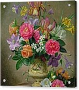 Peonies And Irises In A Ceramic Vase Acrylic Print by Albert Williams