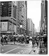 People Crossing The Street On A Rainy Day In Mong Kok Hong Kong Acrylic Print