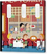 People Enjoying Dinner In The City Acrylic Print