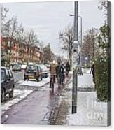 People On Bicycles In Winter Acrylic Print