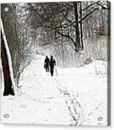 People On Ski  In Snowy Landscape Acrylic Print