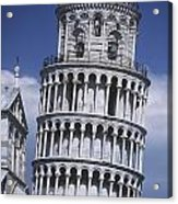 People On Top Of Leaning Tower Of Pisa Acrylic Print