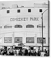 People Outside A Baseball Park, Old Acrylic Print
