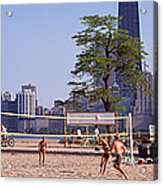 People Playing Beach Volleyball Acrylic Print
