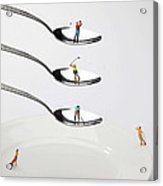People Playing Golf On Spoons Little People On Food Acrylic Print by Paul Ge