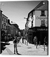 people walking down pedestrian area william street on a sunday Galway city county Galway Republic of Acrylic Print